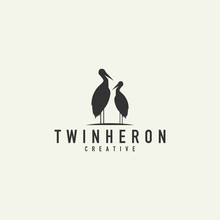 Couple Heron Logo, Vector Illustration On A Light Background