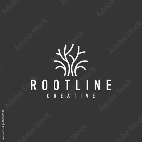 Canvas tree root logo - vector illustration