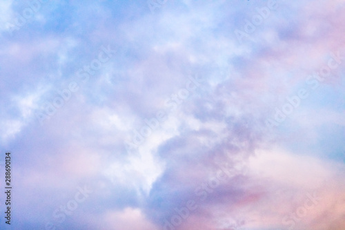 Abstract romantic pastel background. Purple sky, toned image