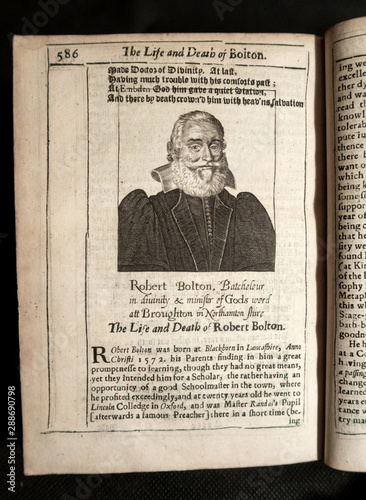 Engraved portrait of Robert Bolton in an early C17th book Canvas Print