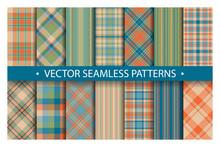 Set Plaid Pattern Seamless. Tartan Patterns Fabric Texture. Checkered Geometric Vector Background. Scottish Stripe Blanket Backdrop