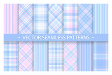 Set Plaid Pattern Seamless. Tartan Patterns Fabric Texture. Checkered Geometric Vector Background. Scottish Stripe Blanket Backdrop