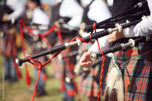 Fotografia Scottish bagpipe marching band close up on bagpipes