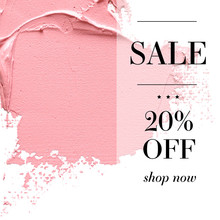 Sale 20% Off Sign Over Paint Texture. Vector White Isolated Background.