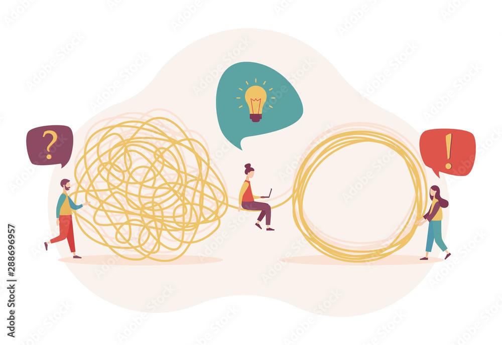 Fototapeta Team metaphor concept. Tangle tangled and unraveled. Flat cartoon style. Vector illustration