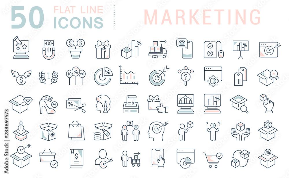 Fototapeta Set Vector Line Icons of Marketing