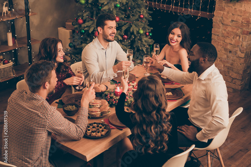Poster de jardin Bar Nice-looking attractive glamorous smart stylish cheerful cheery positive glad guys spending vacation leisure saying toast greetings congrats congratulating in decorated house room