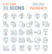 Set Vector Line Icons of Online Payments