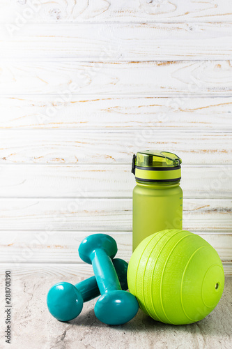 Sport equipment on light background with copy space for your design Fototapeta