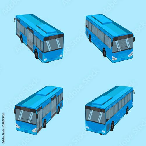 Obraz na plátně 3d top view the blue bus NGV driver fare passenger autobus omnibus coach rail be