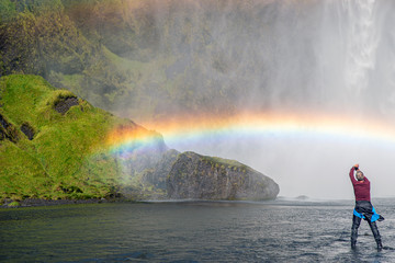 Skógafoss Waterfall rainbow - Iceland