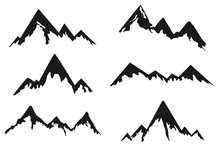 Mountains Black Silhouette Vector Icons Set Isolated On A White Background.