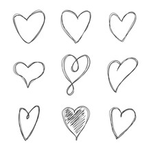 Hand Drawn Doodle Scribble Hearts Vector Set Isolated On A White Background.