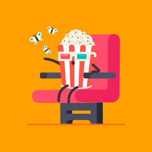 Funny Popcorn In 3d Glasses In Cinema Chair Vector Cartoon Character Isolated On Background.