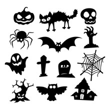 Halloween Icons Silhouette Collection, Vector