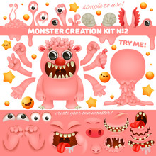 Pink Monster Emoji Cartoon Creation Kit. Diy Collection. Create Your Own Character.