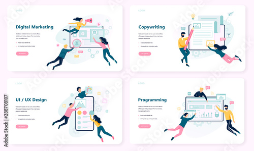 Obraz Digital marketing concept banner. Social network, media - fototapety do salonu