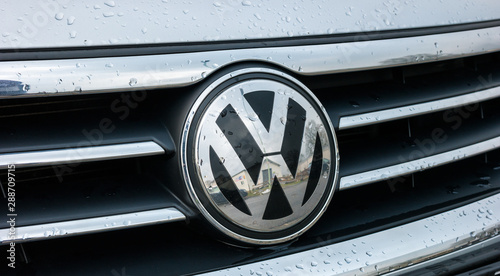 AACHEN, GERMANY MARCH, 2017: Volkswagen VW plate logo on a car grill Wallpaper Mural