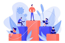 Businessmen Work With Laptops On Graph Columns. Business Hierarchy, Hierarchical Organization, Levels Of Hierarchy Concept On White Background. Living Coral Blue Vector Isolated Illustration
