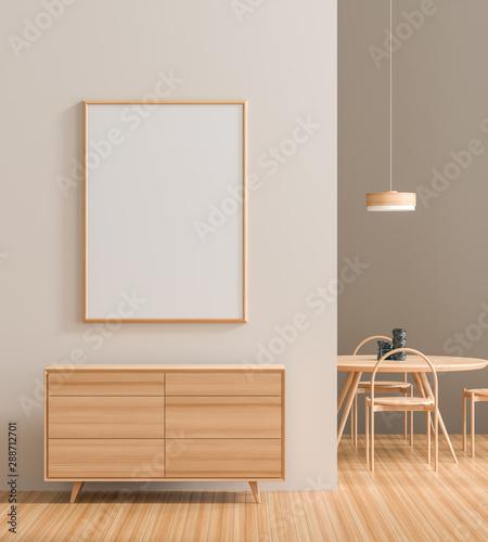 Fotografía  Mock up poster frame in modern interior with wooden furnitures