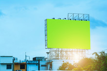 Billboard Blank And Blue Sky, Copy Space On Green Screen