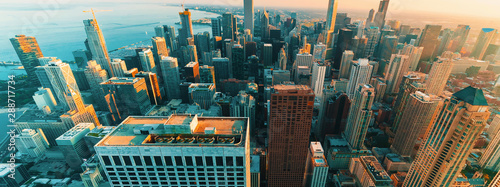 Poster Chicago Chicago cityscape skyline at sunset aerial view