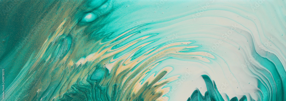 Fototapeta art photography of abstract marbleized effect background. turquoise, emerald green, blue and gold creative colors. Beautiful paint. banner