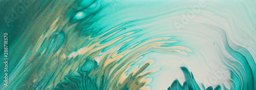 Obraz art photography of abstract marbleized effect background. turquoise, emerald green, blue and gold creative colors. Beautiful paint. banner - fototapety do salonu