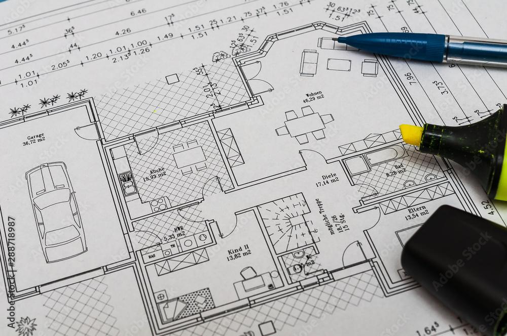 Fototapety, obrazy: Bauzeichnung für das Eigenheim