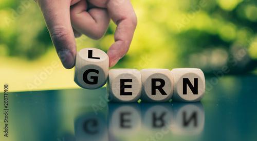 Fotomural Symbol für Spaß am Lernen. Würfel bilden die Worte LERN GERN.