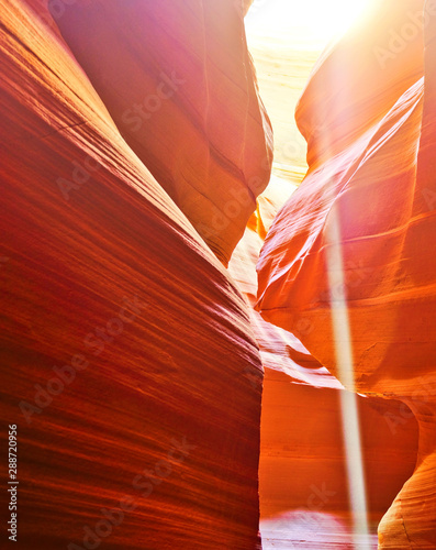 Foto auf AluDibond Rot View of Upper Antelope Canyon with sunbeam shined into canyon at noon in early October in Arizona, USA.