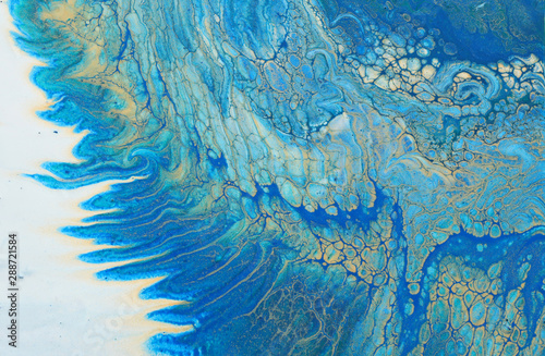Foto auf AluDibond Kristalle art photography of abstract marbleized effect background. turquoise, blue and gold creative colors. Beautiful paint.