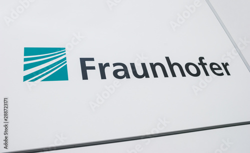 "HANNOVER, GERMANY MARCH, 2017: The logo of the brand ""Fraunhofer IZM"". The Fraunhofer Society of Applied Research is the largest organization for applied research and development services in Europe."