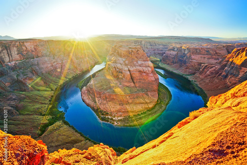 Spoed Foto op Canvas Arizona View of Horseshoe Bend at sunset in Arizona, USA.