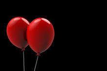 3d Rendering. Two Big Floating Red Balloons On Black Background. Horror Halloween Object Concept
