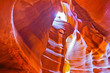 View of Upper Antelope Canyon shined by sunlight with beautiful color in Arizona, USA.