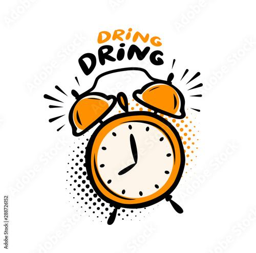 Alarm clock. Deadline, time symbol. Vector illustration Wallpaper Mural
