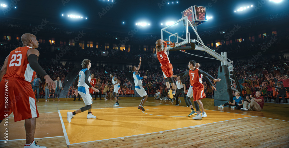 Fototapety, obrazy: Basketball players on big professional arena during the game. Tense moment of the game. Celebration
