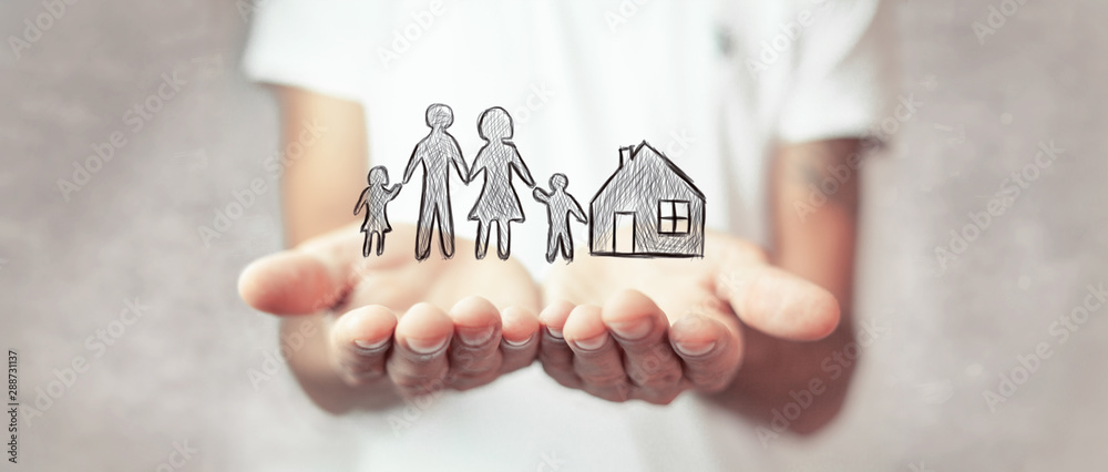 Fototapeta Family care and protection insurance concept