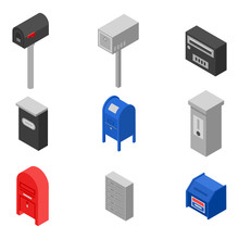 Mailbox Icons Set. Isometric Set Of Mailbox Vector Icons For Web Design Isolated On White Background