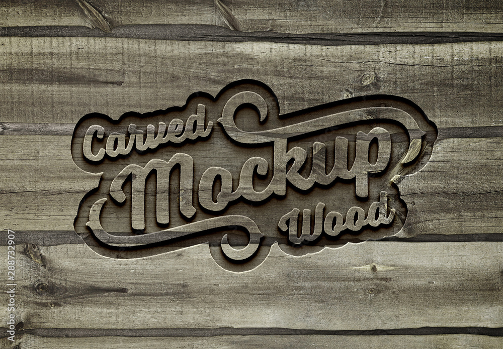 Fototapety, obrazy: Carved Wood Effect Mockup