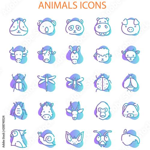 Autocollant pour porte Creatures Animals Face With Gradient Iconset