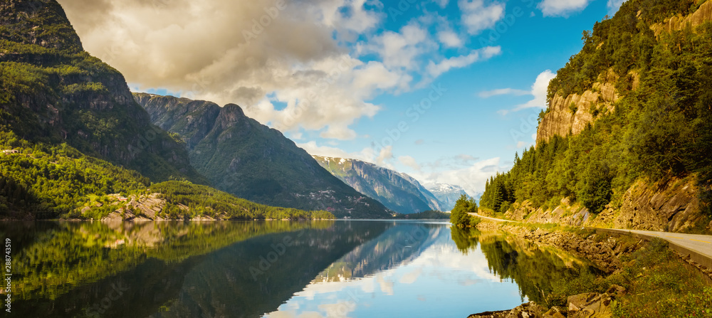 Fototapety, obrazy: Summer Hardanger Fjord near Trolltunga, Norway landscape