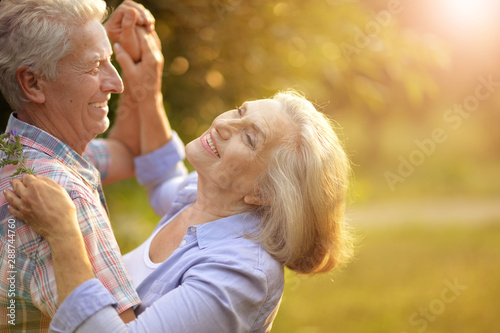 Portrait of happy senior couple dancing in summer park - 288744760