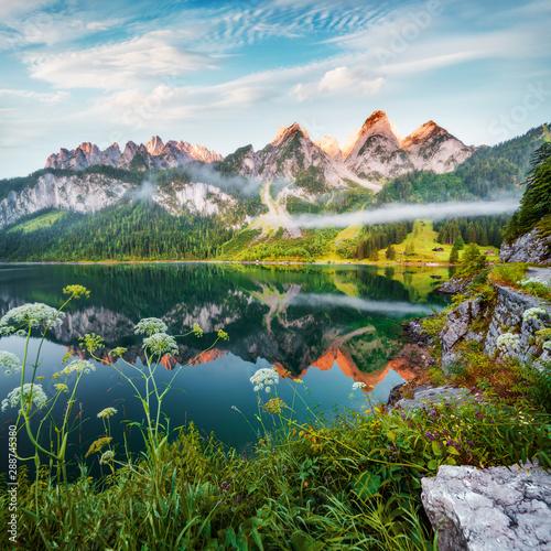 Obraz na plátně  Dreamy summer view of Grosser Donnerkogel mountain range, Austria, Europe