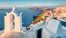 Exciting Morning Scene Of Santorini Island. Picturesque Spring Cityscape Of Famous Greek Resort Fira, Greece, Europe. Traveling Concept Background. Orton Effect.