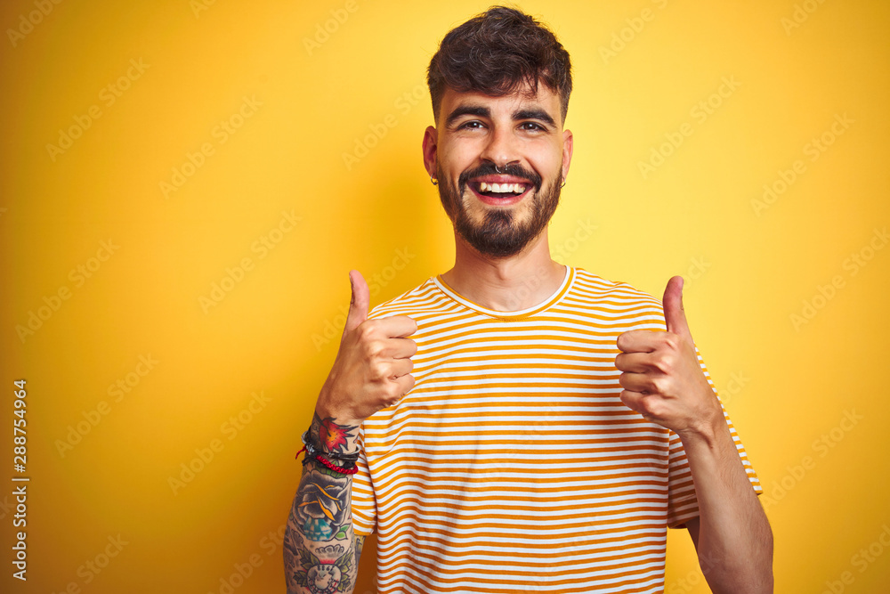 Fototapeta Young man with tattoo wearing striped t-shirt standing over isolated yellow background success sign doing positive gesture with hand, thumbs up smiling and happy. Cheerful expression