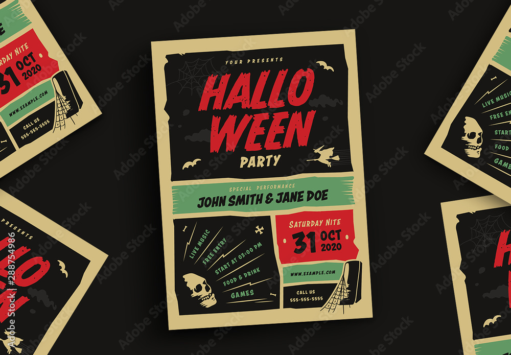 Fototapety, obrazy: Retro Halloween Party Flyer