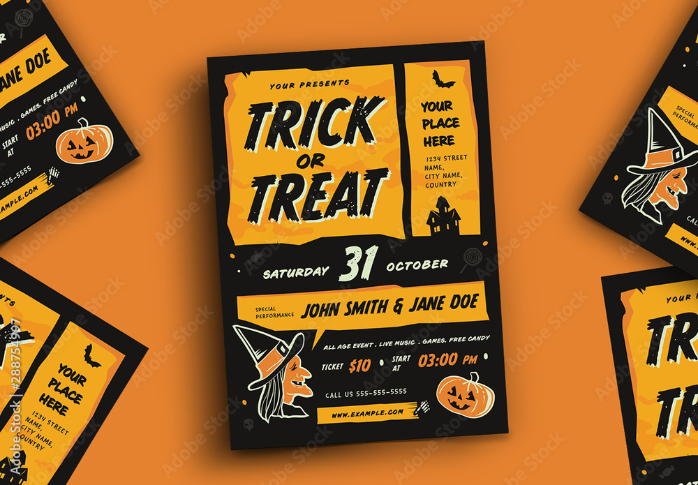 Fototapety, obrazy: Trick or Treat Halloween Event Flyer