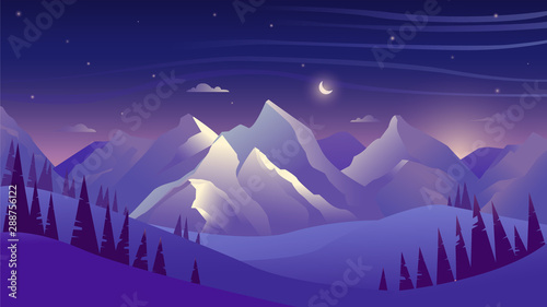 Poster Violet Mountains and forest at night, sky with clouds and stars, beautiful landscape